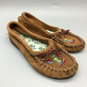 taos light brown suede beaded soft moccasins